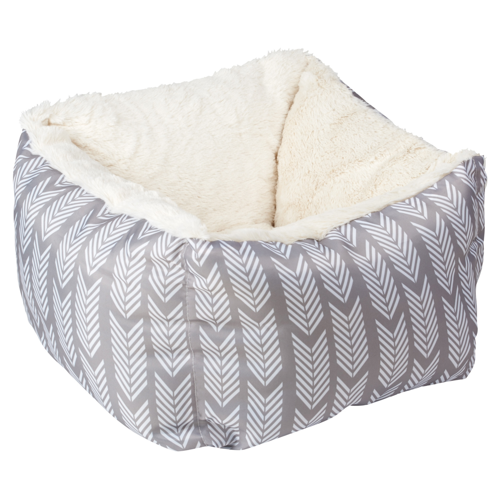 gorgeous grey and white aztec print snuggle bed with super fluffy fur on the inside