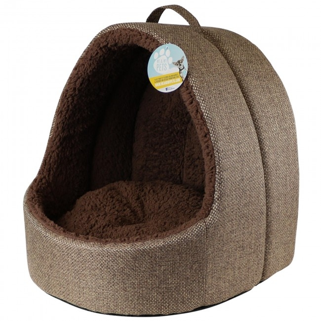 image of large cat igloo bed in brown